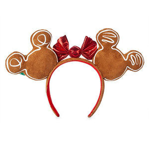 Disney Parks Mickey and Minnie Mouse Gingerbread Ear Headband New with Tag