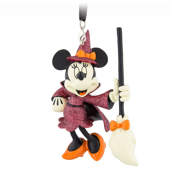 Disney Parks Minnie With Broom Witch Halloween Glitter Ornament New