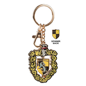 Universal Studios Harry Potter Hufflepuff Crest Spinning Keychain New with Tags