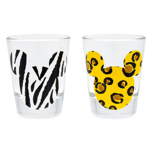 Disney Animal Kingdom Mickey Mouse Animal Print Mini Glass Set Shot Glass New