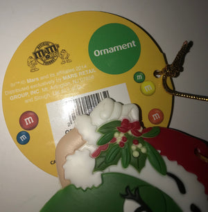 M&M's World Christmas Ornament Green Santa New with Tag