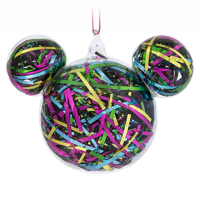 Disney Parks Mid-Century Brights Mickey Icon Ribbon Christmas Ornament New Tag