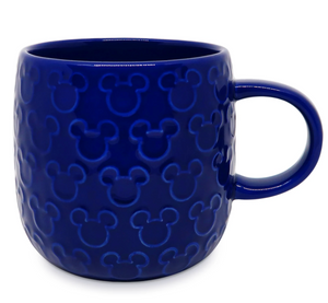 Disney Mickey Raised Blue Cobalt Icon Coffee Mug New