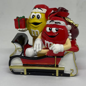 M&M's World Red and Yellow Sleigh Resin Christmas Ornament New with Tag