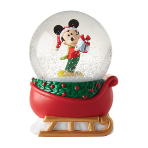 Disney Department 56 Mickey on Sleigh Christmas Snow Globe New with Box
