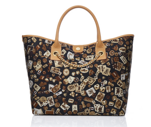 Macao Life is a Game Dark Brown Tote Bag Made in Italy by Divo Diva New