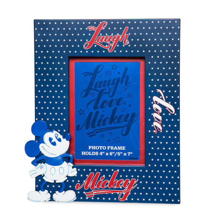 Disney Parks Laugh Love Mickey Americana Photo Frame New with Tag