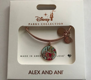 Disney Aurora Sleeping Beauty Rose Gold Charm Bangle Bracelet Alex & Ani New