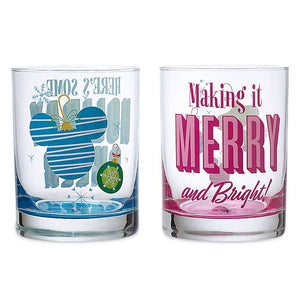 Disney Parks Holiday Cheer Merry and Bright Short Drinking Glasses Set of 2 New