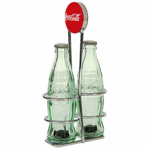 Authentic Coca Cola Coke Salt and Pepper Mini Bottle Set with Rack New
