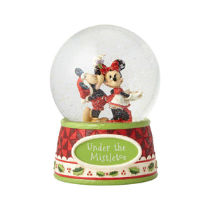 Disney Jim Shore Traditions Mickey Minnie Christmas Mistletoe Waterball New Box
