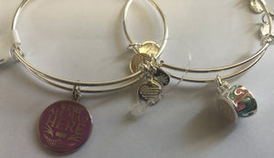 Disney Alex and Ani Fantasyland Teacup Set of 2 Bangle Silver Finish New