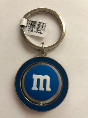 M&M's World Blue Character Big Face PVC Spinning Keychain New with Tag