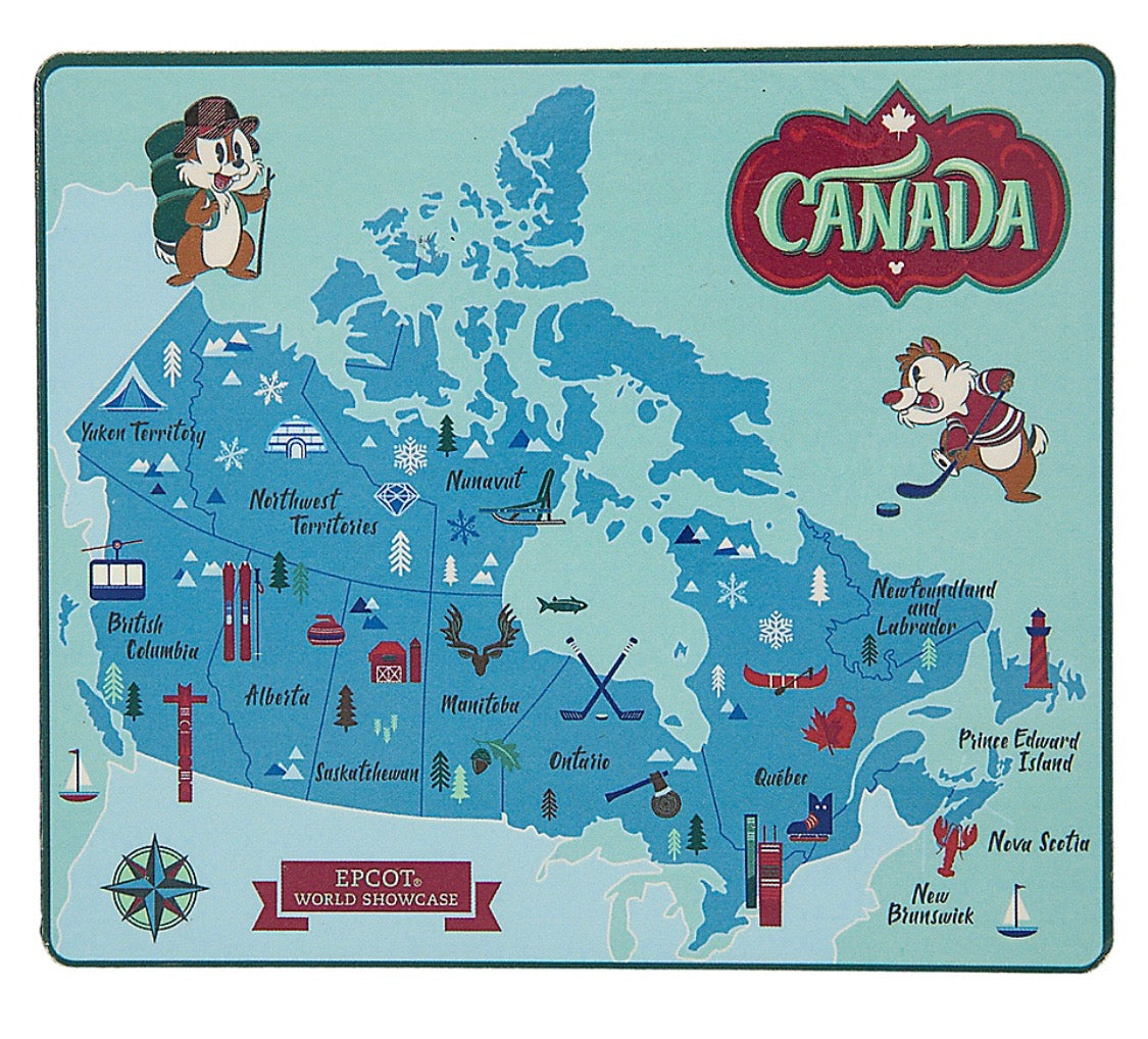Disney Parks Epcot Chip \'n Dale Canada Map Wood Magnet New