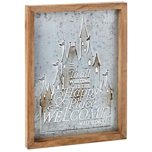 Hallmark Disney Castle Happy Place Wood and Metal Quote Sign New