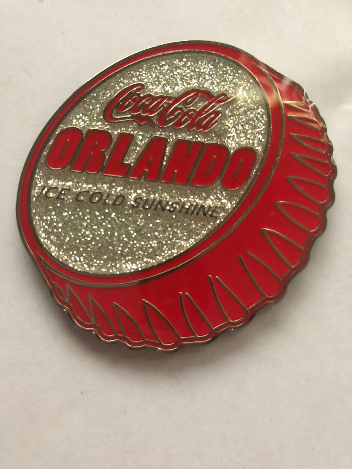 Authentic Coca-Cola Coke Orlando Ice Cold Sunshine Red Metal Magnet New