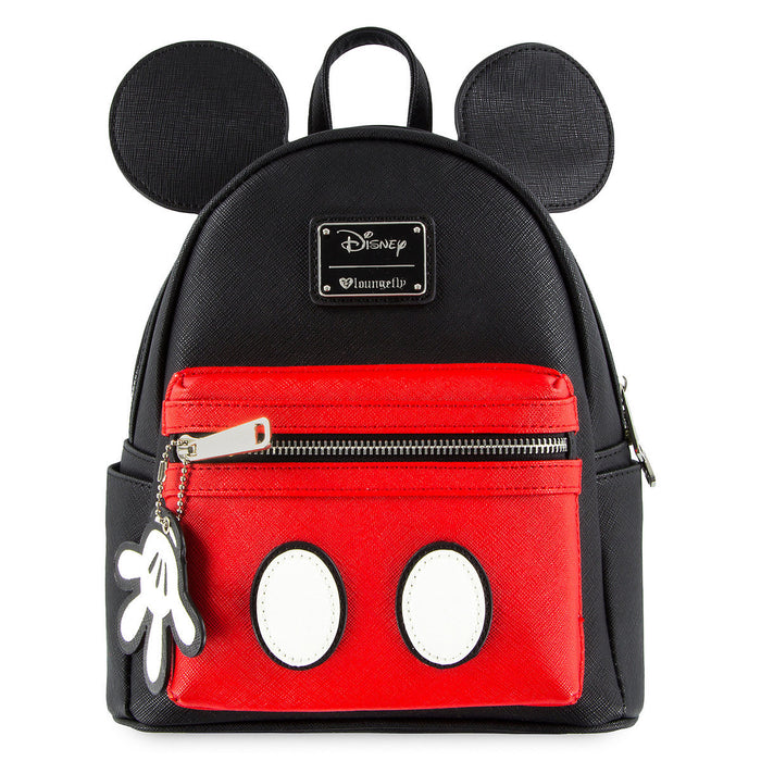 Disney Mickey Mouse Mini Backpack by Loungefly Bookback White Glove Charm New