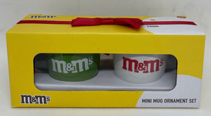 M&M's World Mini Mug Ornament Set New with Box