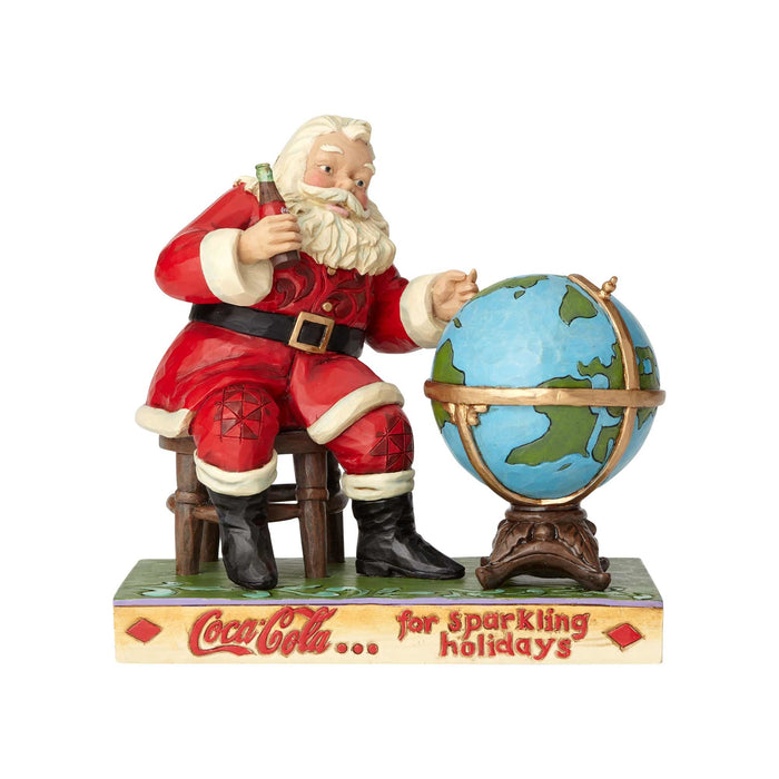 Coca Cola Coke Santa and Globe Figurine by Jim Shore New with Box