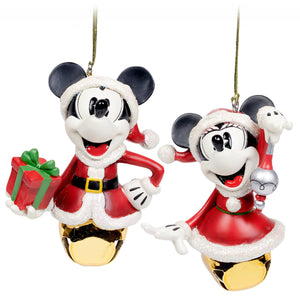 Disney Parks Turn the Century Holiday Mickey Minnie Santa Bell Ornament Set New