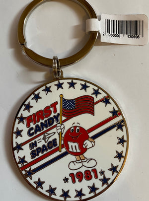 M&M's World Red Character First Candy in Space 1981 Round Metal Keychain New
