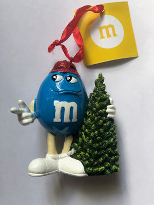 M&M's World Blue Character Resin Christmas Tree Ornament New with Tag