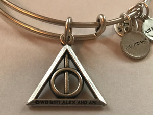 Alex and Ani Harry Potter Deathly Hallows Charm Bangle Silver Finish New