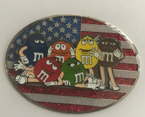 M&M's World USA Flag Characters Group Metal Magnet New