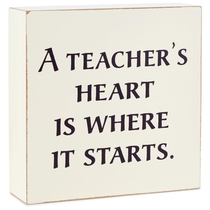 Hallmark A Teacher's Heart is Where it Starts Wood Quote Sign New