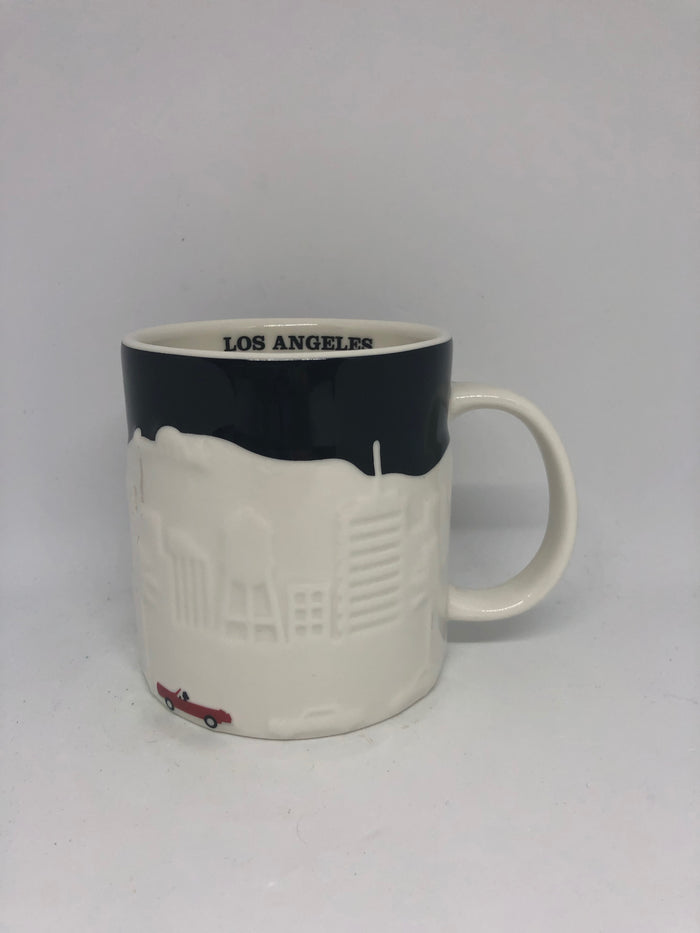 Starbucks Global Icon City Black Los Angeles Relief Ceramic Coffee Mug New