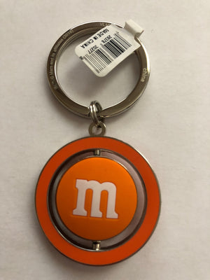 M&M's World Orange Character Big Face PVC Spinning Keychain New with Tag