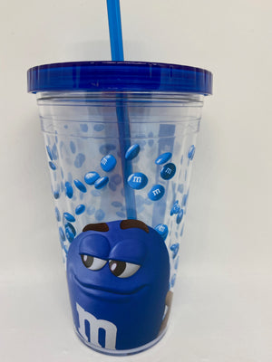 M&M's World Blue Big Face Lentils Tumbler with Straw New