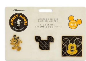 Disney Store Mickey Memories August Pin Set Limited Release New with Card