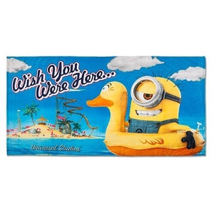Universal Studios Despicable Me Minion Wish You Were Here Towel New with Tag