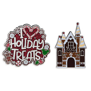 Disney Parks Holiday Treats Gingerbread Castle Pin Set New with Card