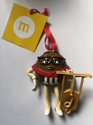 M&M's World Brown Character Sled Christmas Ornament New with Tag