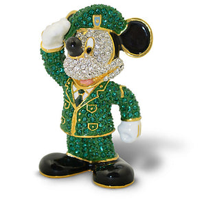 Disney Parks Mickey Mouse Army Jeweled Figurine by Arribas Brothers New with Box