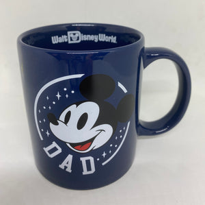 Disney Parks WDW Mickey Dad Blue Ceramic Coffee Mug New
