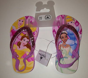 disney parks cinderella tiana aurora belle flip flops size 5/6 new with tag