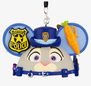Disney Parks Zootopia Lt. Judy Hoops Nick Wilde Ear Hat Christmas Ornament New