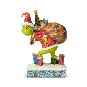 Jim Shore Grinch Tip Toeing with Bag of Gifts Figurine New with Box