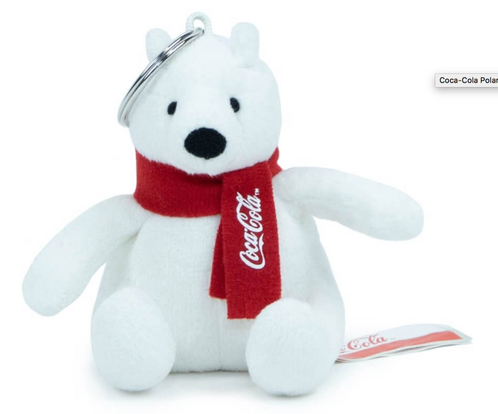 Authentic Coca-Cola Coke Polar Bear Plush Keychain New with Tag