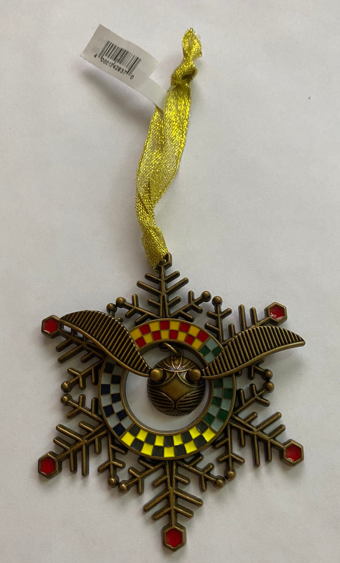 Universal Studios Harry Potter Quidditch Snitch Snowflake Holiday Ornament New
