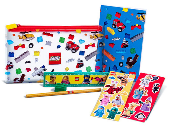 Lego Back to School Pack Set Pouch Ruler Notebook Pencil Eraser Stickers New