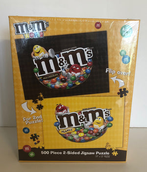 M&M's World Yellow and Red 500 Piece 2 Sided Jigsaw Puzzle New with Box Sealed
