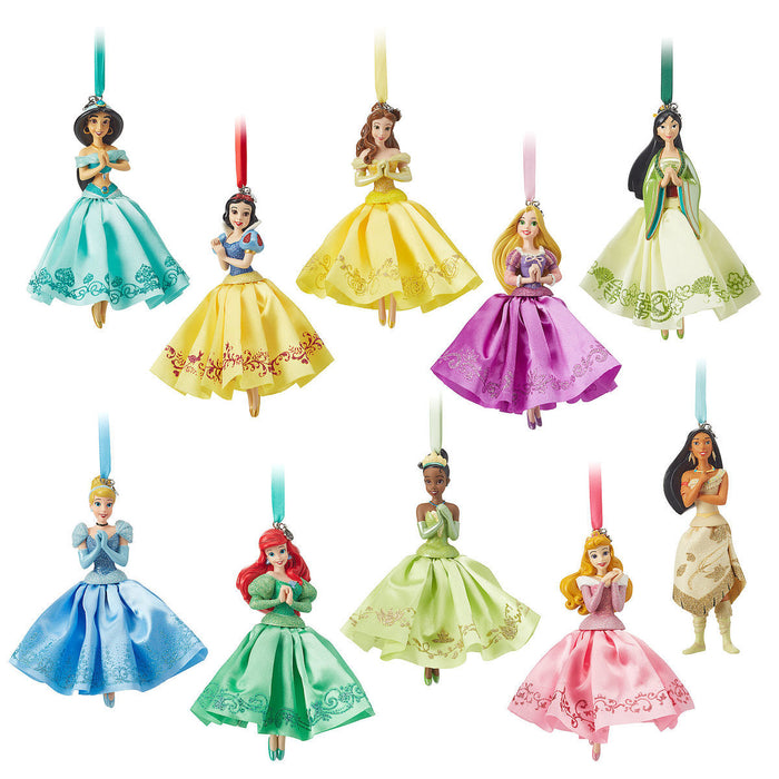 Disney Store Princess Sketchbook Ornament Set 10 Pieces Ariel Belle Mulan Aurora