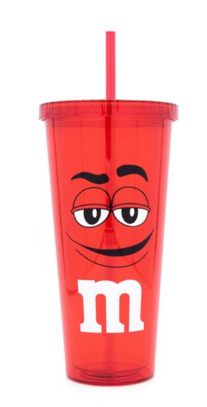 M&M's World Red Character Lip Tumbler with Straw New
