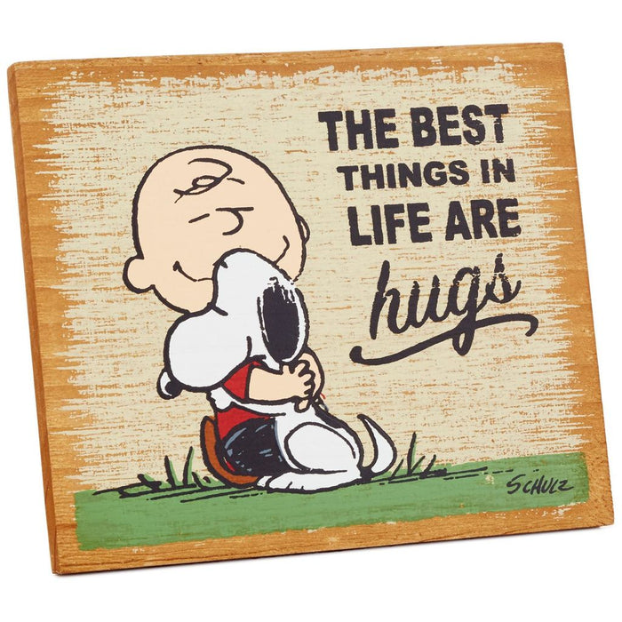 Hallmark Peanuts The Best Things Are Hugs Wood Quote Sign NewNew