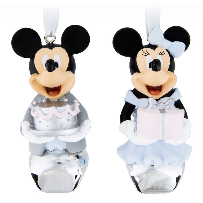 Disney Parks Mickey and Minnie Mouse Formal Bell Ornament Set New with Tags