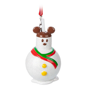 Disney Parks Snowman with Mickey Ear hat Tumbler Christmas Ornament New With Tag